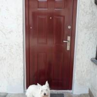 Fényes cseresznye színű HiSec ajtó, helyreállítva
