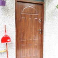 Gerda ajtó, aranytölgy színű, egy sor üvegtéglával, eljavítva!!
