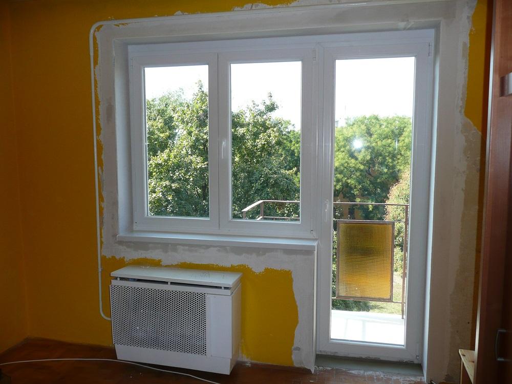 ALUPLAST műanyag teraszajtó, mellette kétszárnyú ablak, eljavítva!